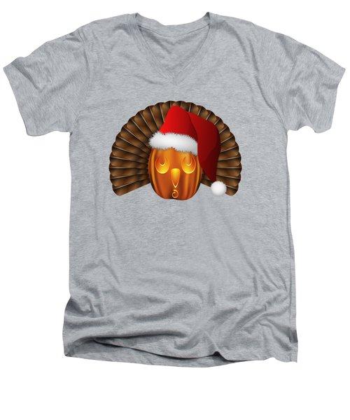 Hallowgivingmas Santa Turkey Pumpkin Men's V-Neck T-Shirt by MM Anderson
