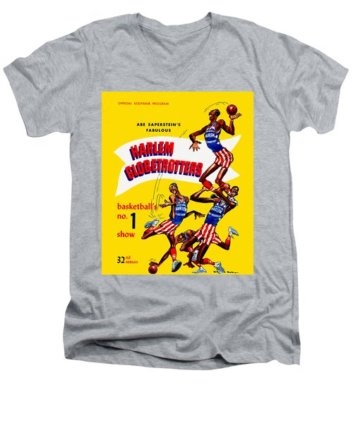Harlem Globetrotters Vintage Program 32nd Season Men's V-Neck T-Shirt by Big 88 Artworks
