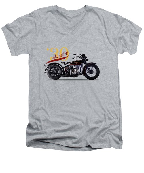 Harley-davidson Model V 1930 Men's V-Neck T-Shirt by Mark Rogan