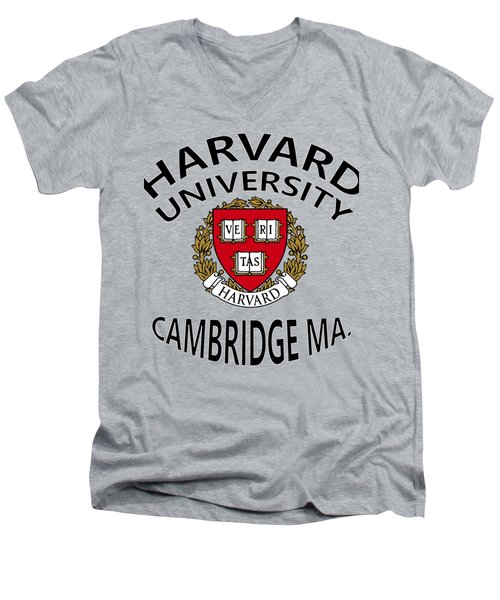 Harvard University Cambridge M A  Men's V-Neck T-Shirt by Movie Poster Prints