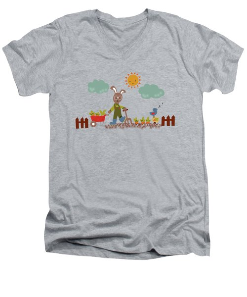 Harvest Time Men's V-Neck T-Shirt by Kathrin Legg