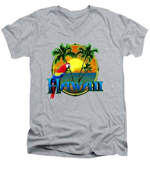 Hawaii Parrot Men's V-Neck T-Shirt by Chris MacDonald