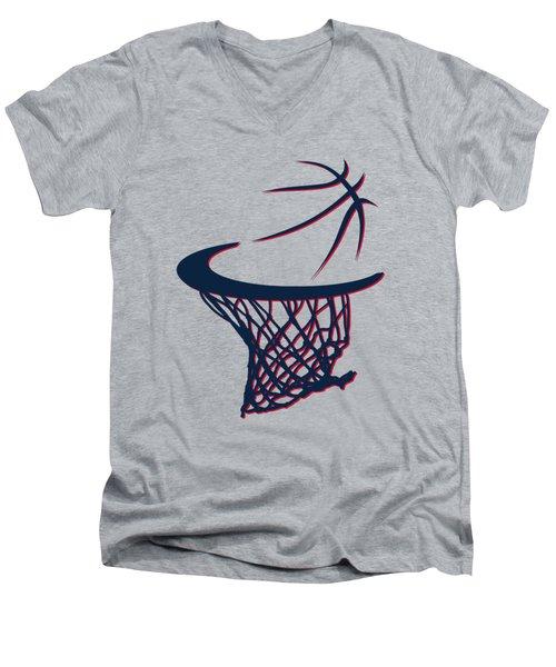 Hawks Basketball Hoop Men's V-Neck T-Shirt by Joe Hamilton