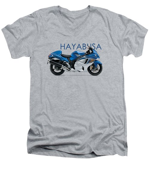 Hayabusa In Blue Men's V-Neck T-Shirt by Mark Rogan