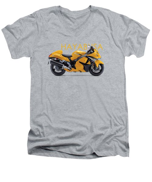 Hayabusa In Yellow Men's V-Neck T-Shirt by Mark Rogan