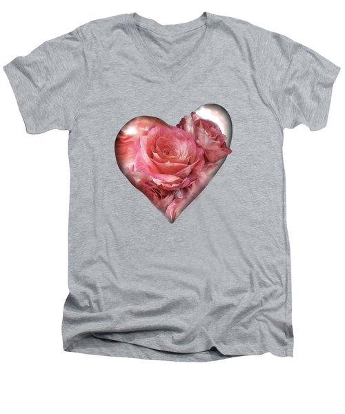Heart Of A Rose - Melon Peach Men's V-Neck T-Shirt by Carol Cavalaris