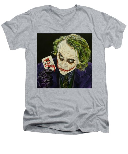 Heath Ledger The Joker Men's V-Neck T-Shirt by David Peninger