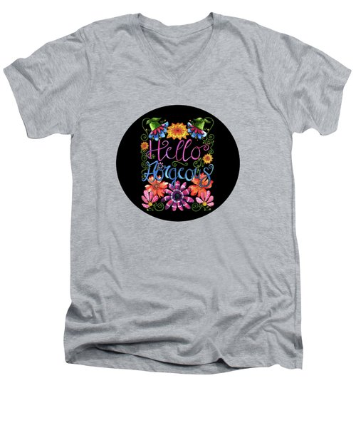 Hello Gorgeous Black  Men's V-Neck T-Shirt by Shelley Wallace Ylst