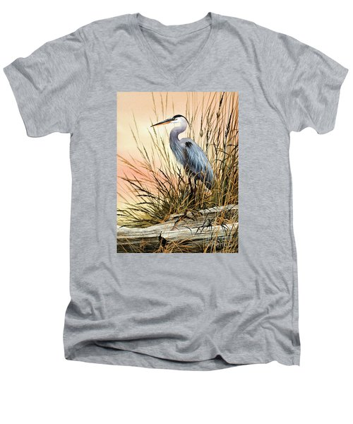 Heron Sunset Men's V-Neck T-Shirt by James Williamson