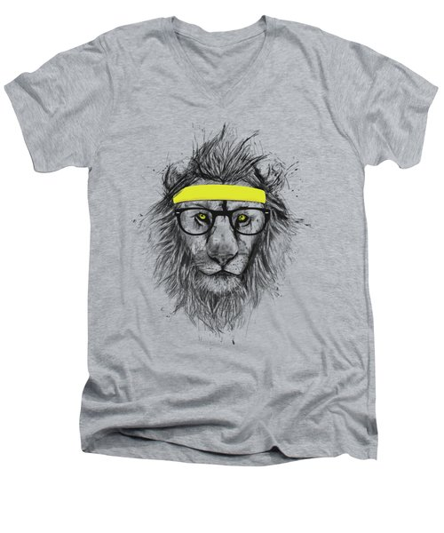 Hipster Lion Men's V-Neck T-Shirt by Balazs Solti