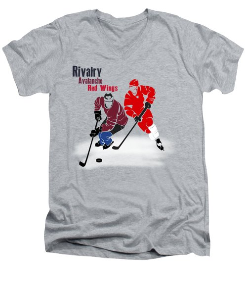 Hockey Rivalry Avalanche Red Wings Shirt Men's V-Neck T-Shirt by Joe Hamilton