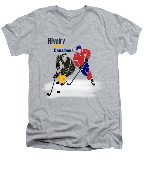 Hockey Rivalry Bruins Canadiens Shirt Men's V-Neck T-Shirt by Joe Hamilton