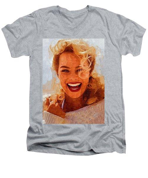 Hollywood Star Margot Robbie Men's V-Neck T-Shirt by Best Actors