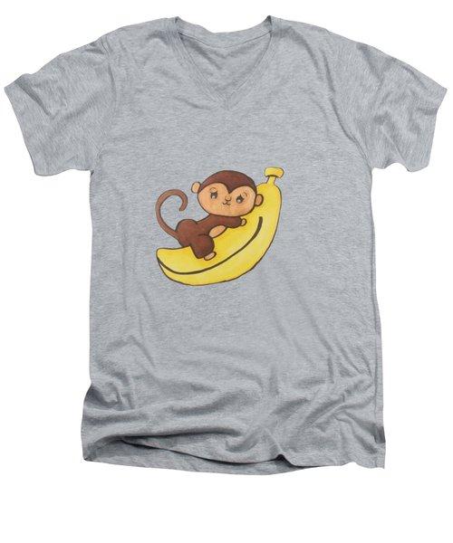 I Has A Banana Men's V-Neck T-Shirt by Darci Smith