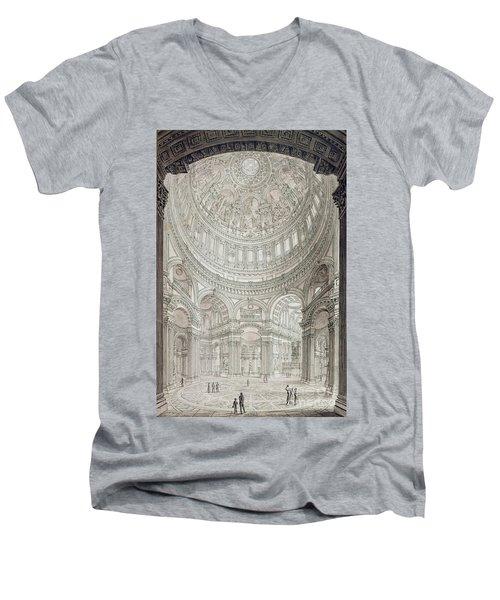 Interior Of Saint Pauls Cathedral Men's V-Neck T-Shirt by John Coney