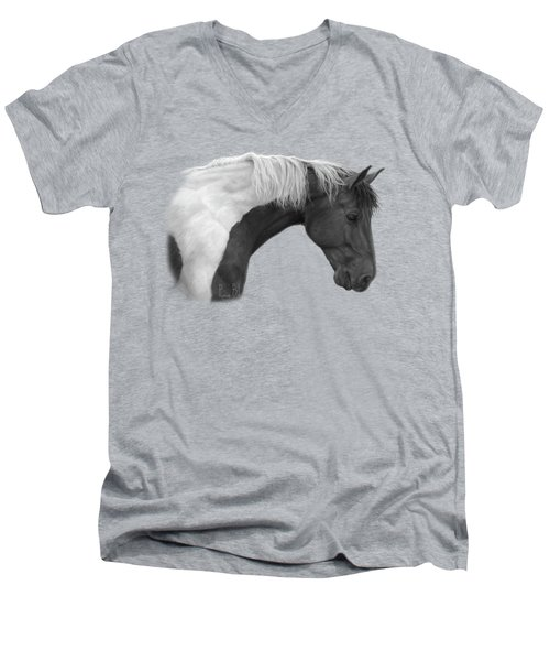 Intrigued - Black And White Men's V-Neck T-Shirt by Lucie Bilodeau