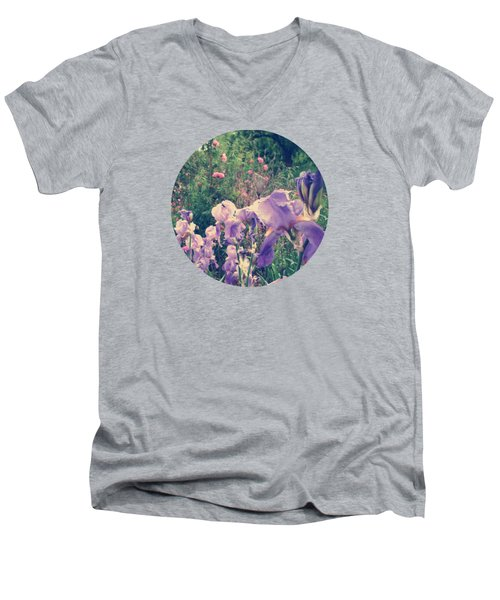 Irises And Roses In The Garden Men's V-Neck T-Shirt by Mary Wolf