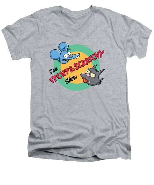 Itchy And Scratchy Men's V-Neck T-Shirt by Ian  King