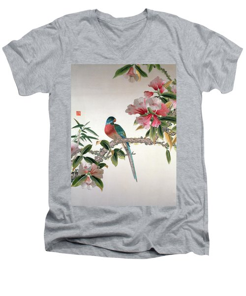 Jay On A Flowering Branch Men's V-Neck T-Shirt by Chinese School