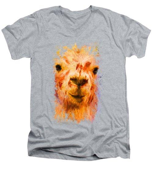 Jazzy Llama Colorful Animal Art By Jai Johnson Men's V-Neck T-Shirt by Jai Johnson