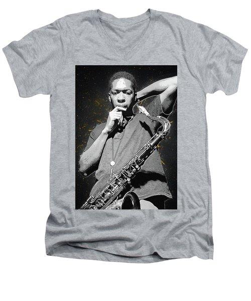 John Coltrane Men's V-Neck T-Shirt by Semih Yurdabak