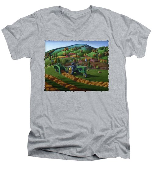John Deere Tractor Baling Hay Farm Folk Art Landscape - Vintage - Americana Decor -  Painting Men's V-Neck T-Shirt by Walt Curlee