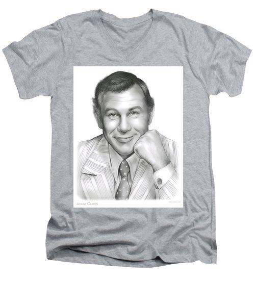 Johnny Carson Men's V-Neck T-Shirt by Greg Joens