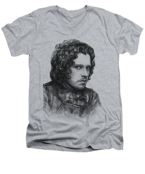Jon Snow Game Of Thrones Men's V-Neck T-Shirt by Olga Shvartsur