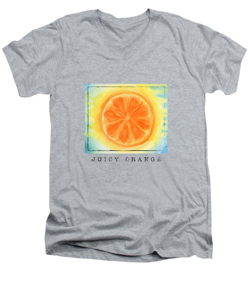 Juicy Orange Men's V-Neck T-Shirt by Kathleen Wong