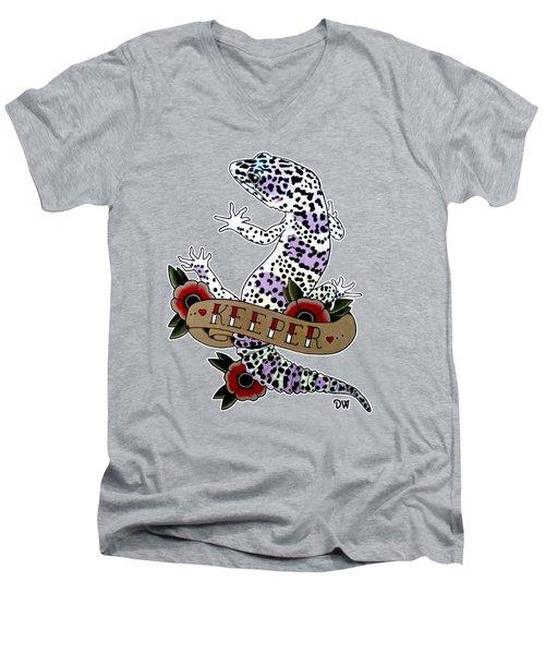 Keeper Leopard Gecko Men's V-Neck T-Shirt by Donovan Winterberg