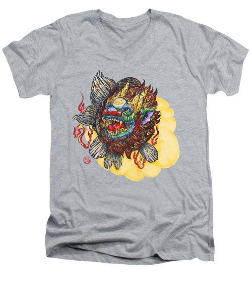 Kirin Head Ranchu Men's V-Neck T-Shirt by Shih Chang Yang