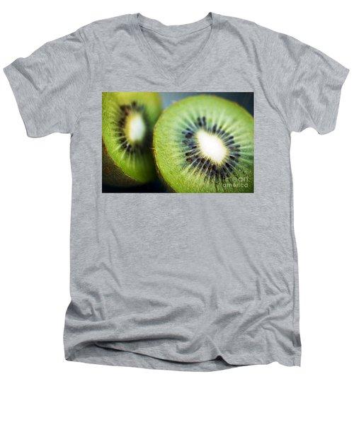 Kiwi Fruit Halves Men's V-Neck T-Shirt by Ray Laskowitz - Printscapes