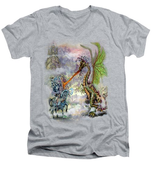 Knights N Dragons Men's V-Neck T-Shirt by Kevin Middleton