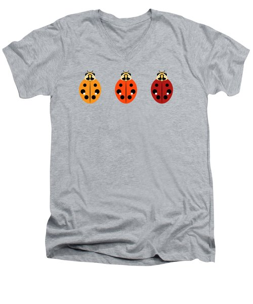 Ladybug Trio Horizontal Men's V-Neck T-Shirt by MM Anderson