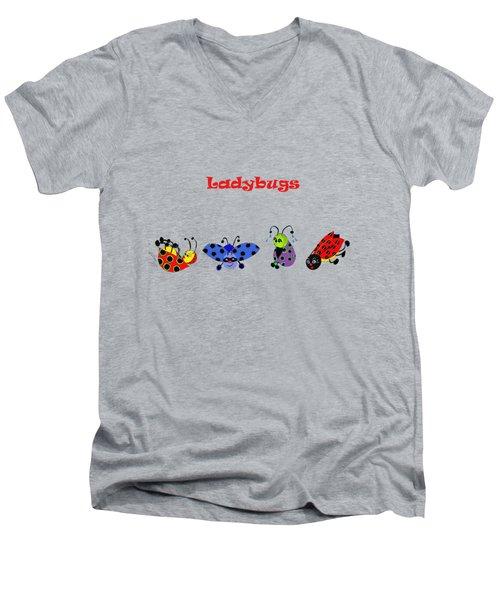 Ladybugs T-shirt Men's V-Neck T-Shirt by Karen Beasley
