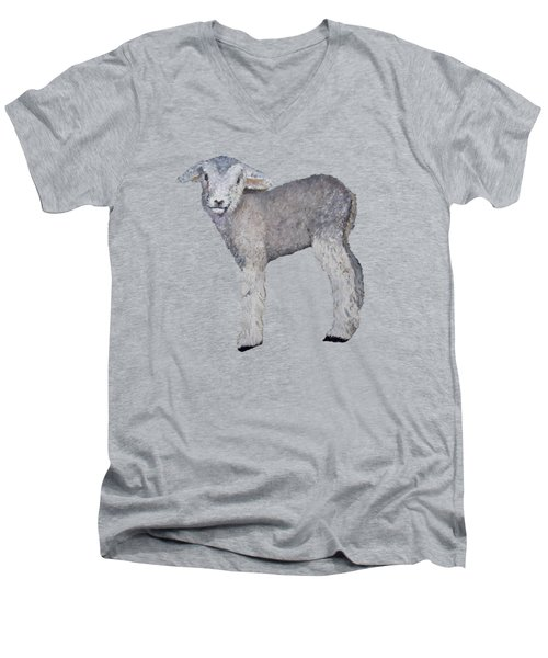 Lamb Men's V-Neck T-Shirt by Petra Stephens