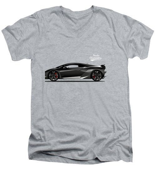Lamborghini Sesto Elemento Men's V-Neck T-Shirt by Mark Rogan