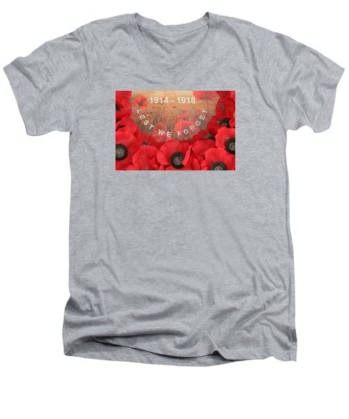 Men's V-Neck T-Shirt featuring the photograph Lest We Forget - 1914-1918 by Travel Pics