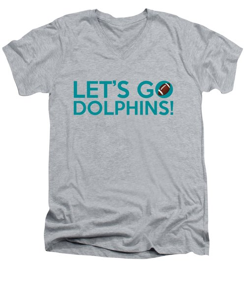 Let's Go Dolphins Men's V-Neck T-Shirt by Florian Rodarte