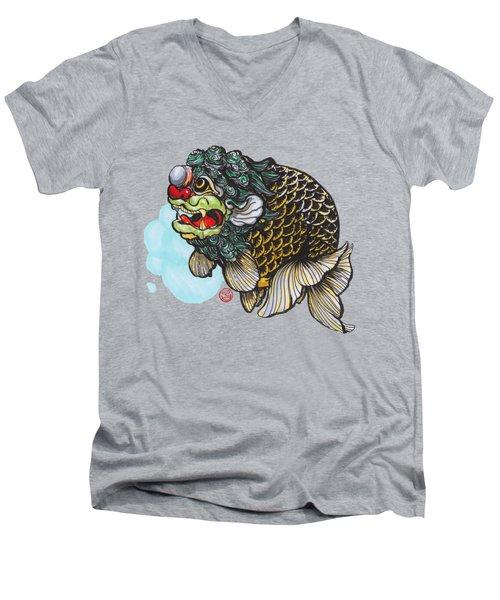 Lion Head Ranchu Men's V-Neck T-Shirt by Shih Chang Yang
