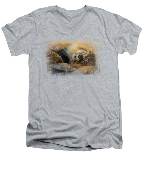 Lion Love 2 Men's V-Neck T-Shirt by Jai Johnson