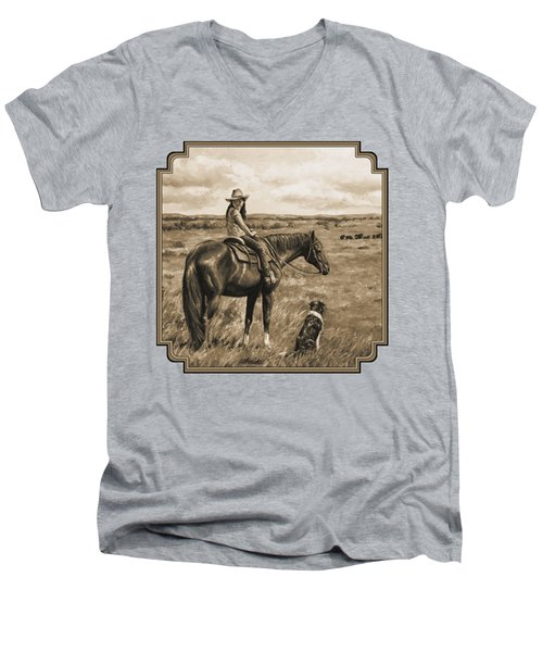 Little Cowgirl On Cattle Horse In Sepia Men's V-Neck T-Shirt by Crista Forest