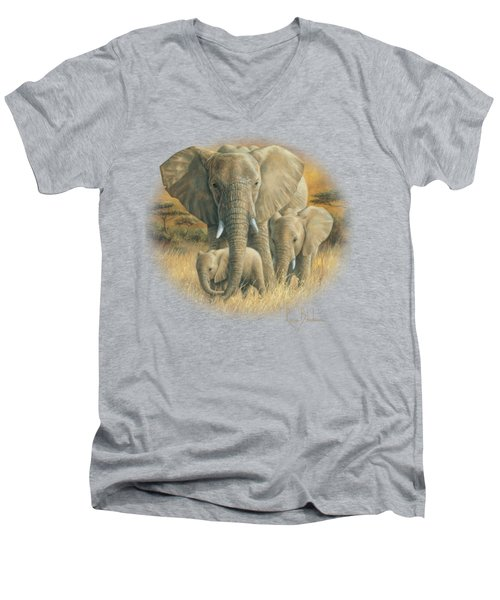 Loving Mother Men's V-Neck T-Shirt by Lucie Bilodeau