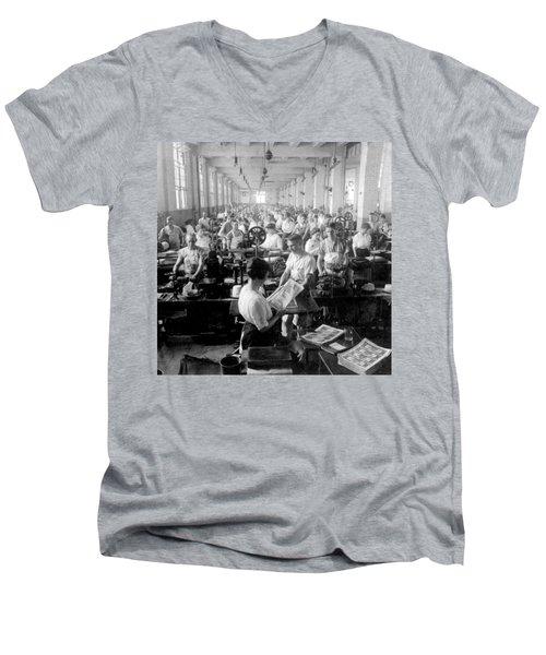 Making Money At The Bureau Of Printing And Engraving - Washington Dc - C 1916 Men's V-Neck T-Shirt by International  Images