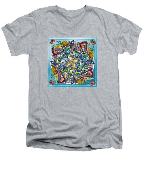Mandala Fish Pool Men's V-Neck T-Shirt by Bedros Awak