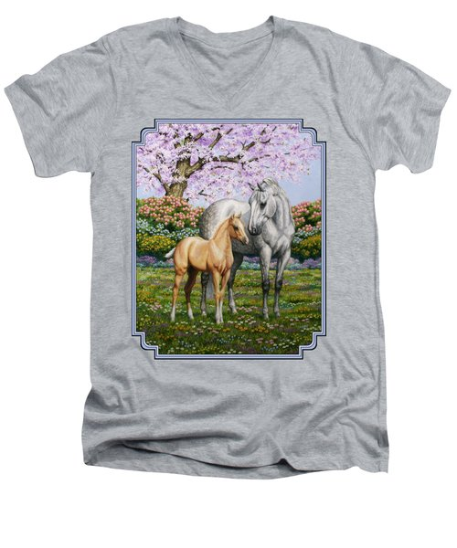 Mare And Foal Pillow Blue Men's V-Neck T-Shirt by Crista Forest