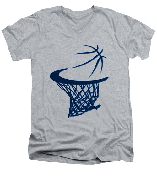 Mavericks Basketball Hoops Men's V-Neck T-Shirt by Joe Hamilton