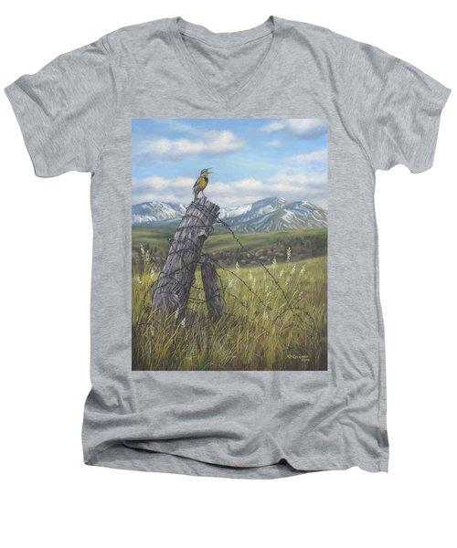 Meadowlark Serenade Men's V-Neck T-Shirt by Kim Lockman