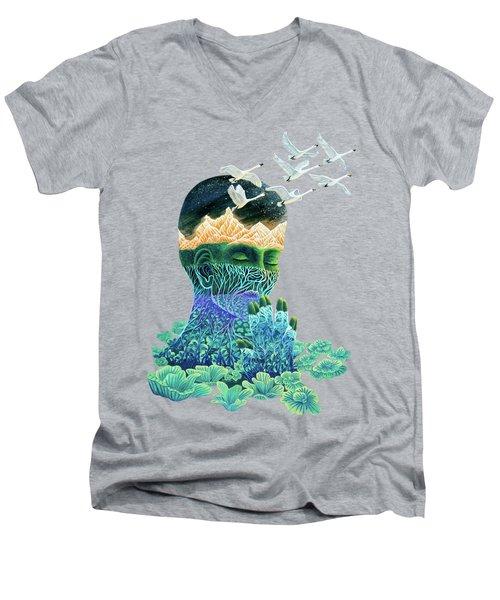 Meditation Men's V-Neck T-Shirt by Ruta Dumalakaite