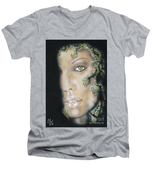 Medusa Men's V-Neck T-Shirt by John Sodja